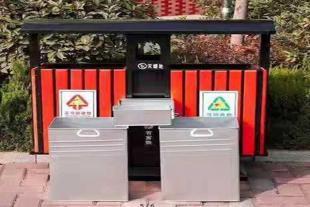 定制销售 塑木果皮箱 钢木奥运桶 木条垃圾桶